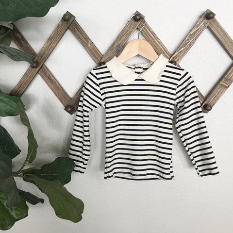 organic cotton collar top | natural + dark navy stripe