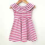 Ruffle neck dress in raspberry stripe