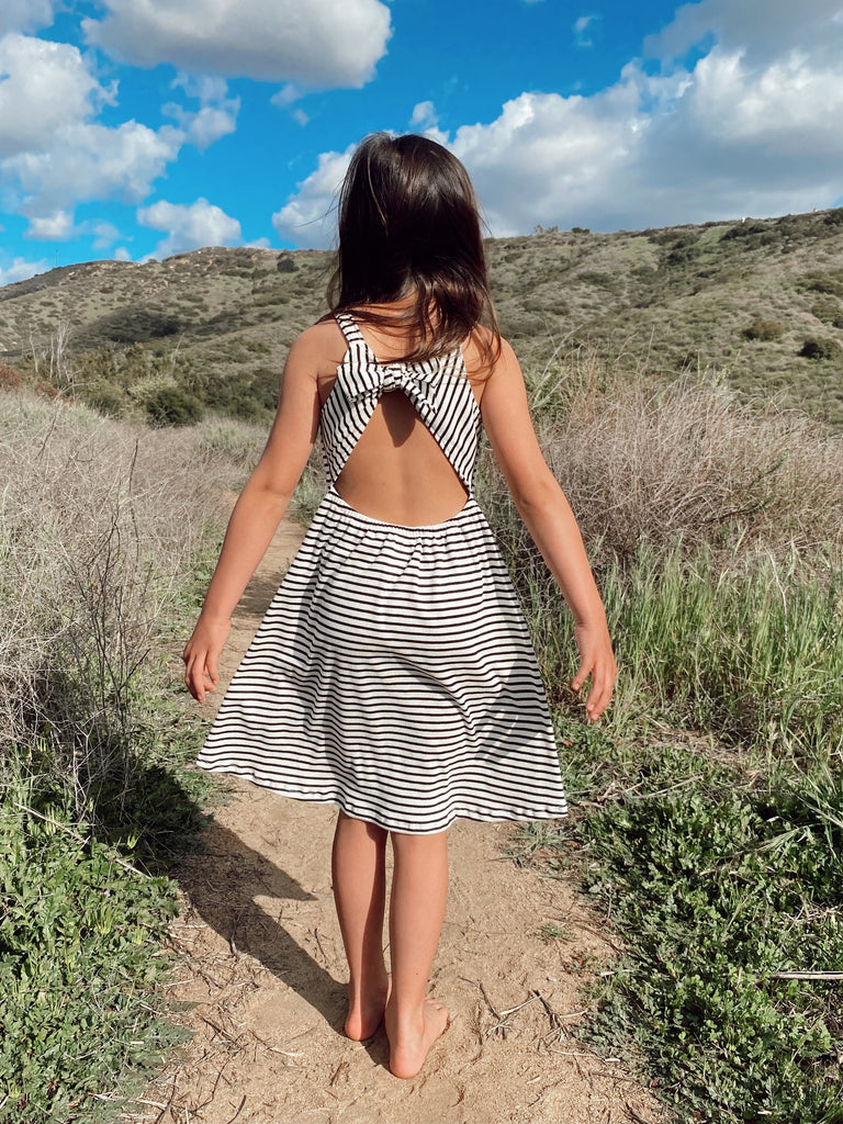 open back dress | black + white stripe