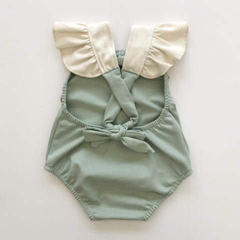 criss cross playsuit in dusty teal