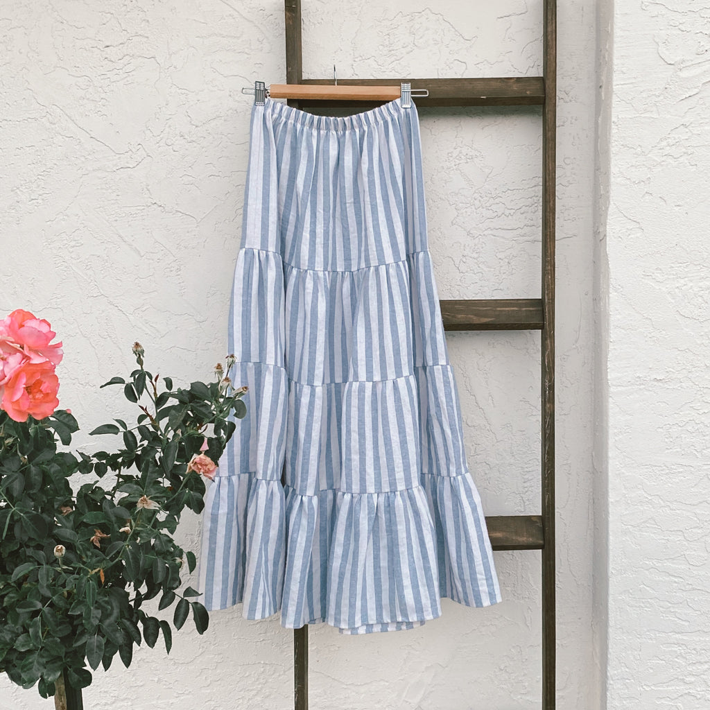 tiered maxi skirt in chambray stripe | women