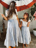 tiered maxi skirt in chambray stripe | children