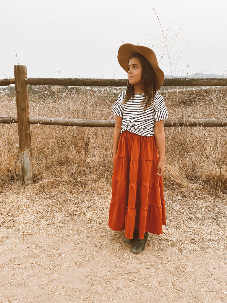 tiered maxi skirt in rust