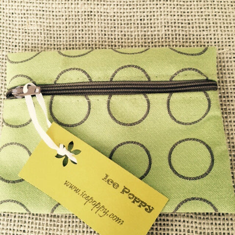 Zippered Pouches - Green Circles