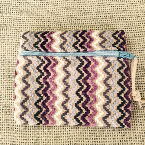 Zippered Pouches - Burgandy Zig Zag