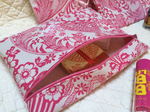 Zippered pouches-  Pink Vinyl