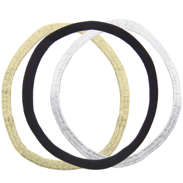 3 on a Card Black, Gold & Silver Glitter Metal Free Head Elastics