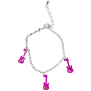 Pink Electric Guitar Bracelet with Diamante Stones