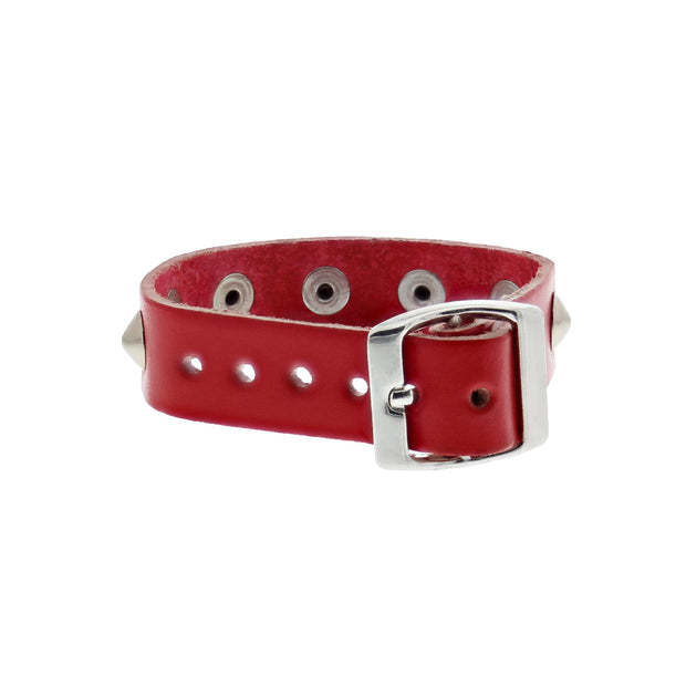 1-Row Conical Studded Leather Bracelet with Buckle