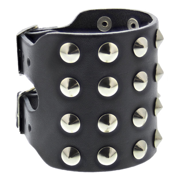 Black 4-Row Conical Studded Leather Bracelet with Buckle