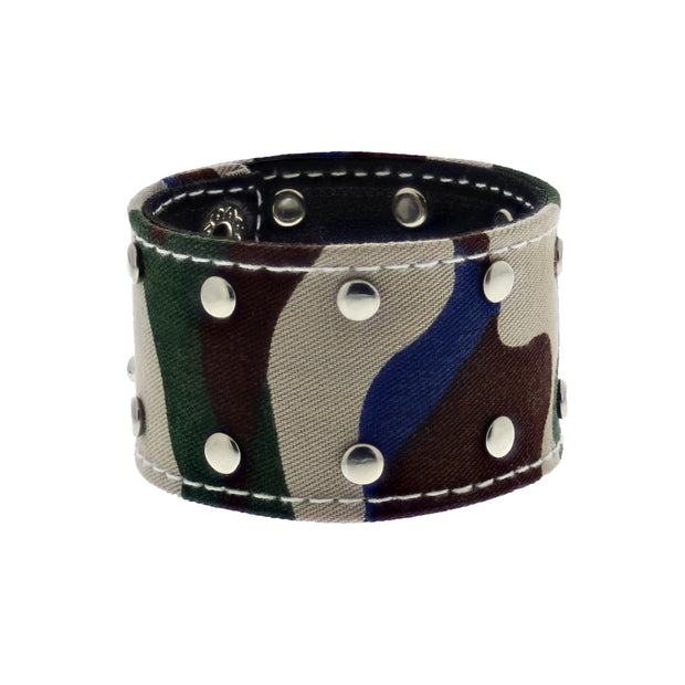 Camouflage Bracelet with Gold Studs