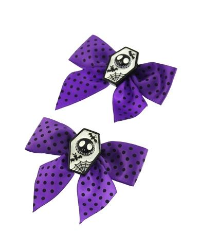 Pair of Polkadot Bows with Coffin