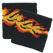 Flame Print on Black Towelling Sweatbands