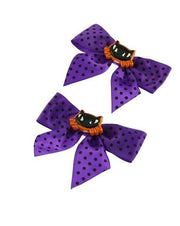 Pair of Polkadot Bows with Cat