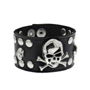 Black PU Bracelet with Skull & Crossbones and Silver Studs