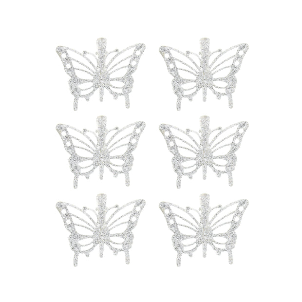 Pack of 6 Mini Glitter Beak/ Concord Clips with Butterflies