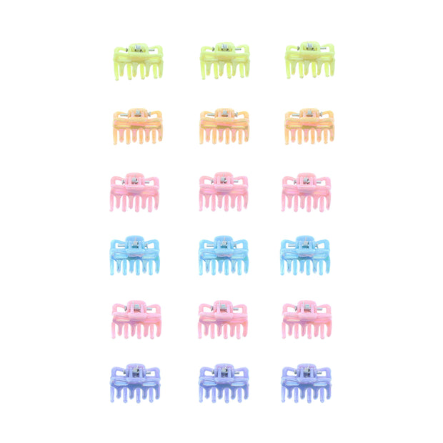 24 on a Card Assorted Pastel Colour Mini Hair Clips
