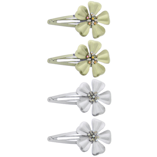 Large 11cm Floral Gold & Silver Snapclips