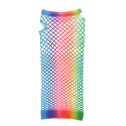 Long Rainbow Fishnet Gloves