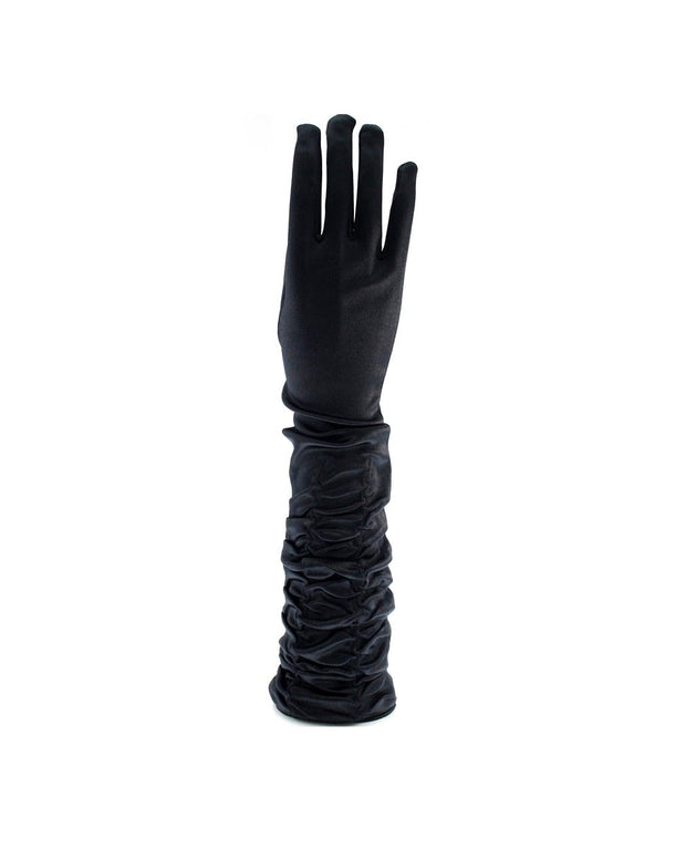 Ruched Long Satin Gloves