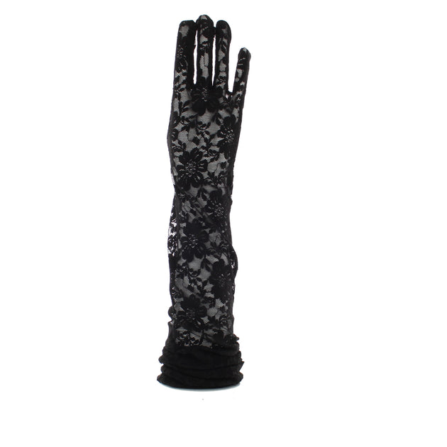 Black Over The Elbow Long Lace Floral Print Gloves