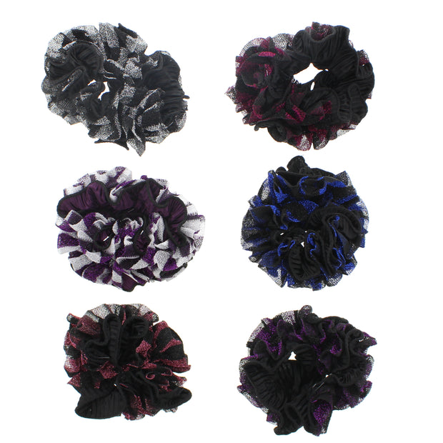 Assorted Glitter Three Tone Garters / Scrunchies
