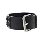Black on Black 2-Row Pyramid Studded PU Bracelet with Buckle