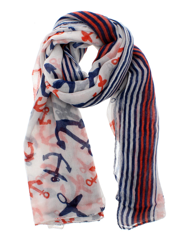 Scarf with Anchor Prints