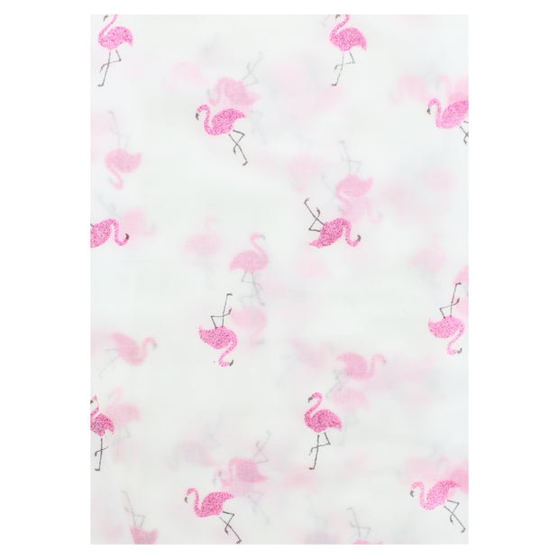 Scarf with Glitter Flamingoes