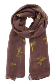 Black Scarf with Gold Foil Dragonflies