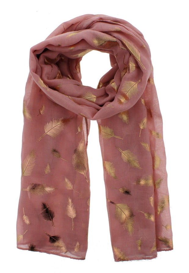 Scarf with Gold Foil Feathers