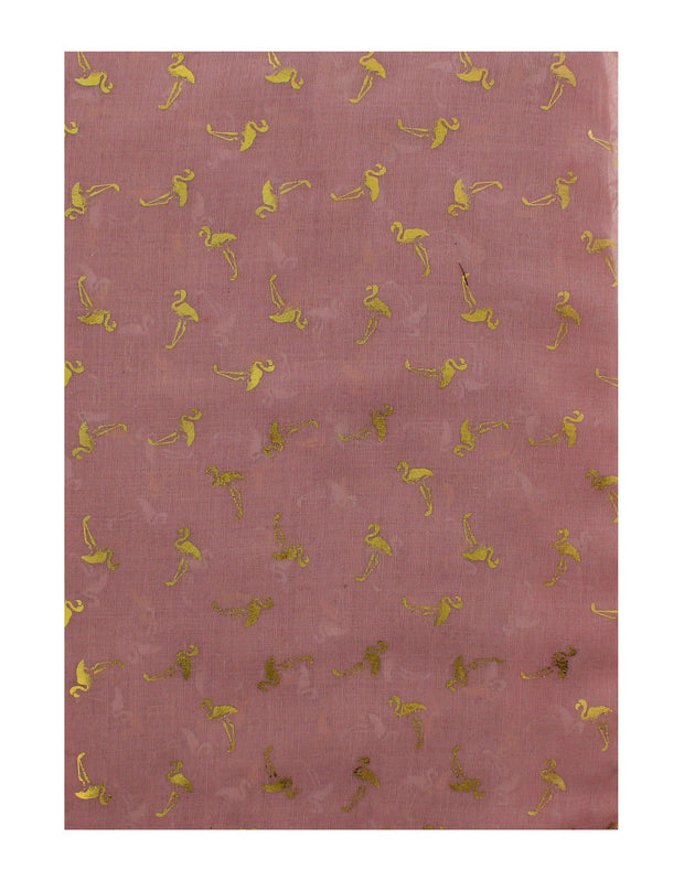 Scarf with Gold Foil Flamingos