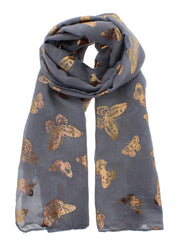 Scarf with Gold Foil Butterflies