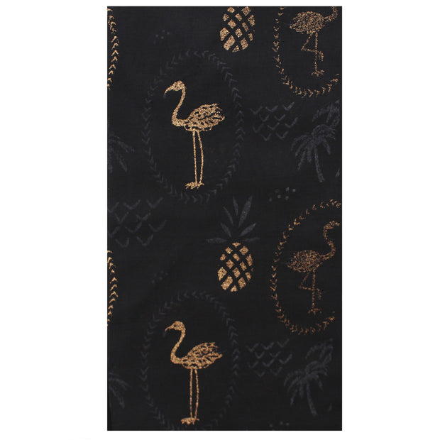 Scarf with Gold Glitter Flamingos & Pineapples