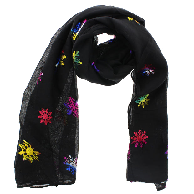 Scarf with Rainbow Foil Snowflakes