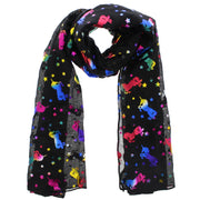 Black Scarf with Rainbow Foil Unicorns and Stars