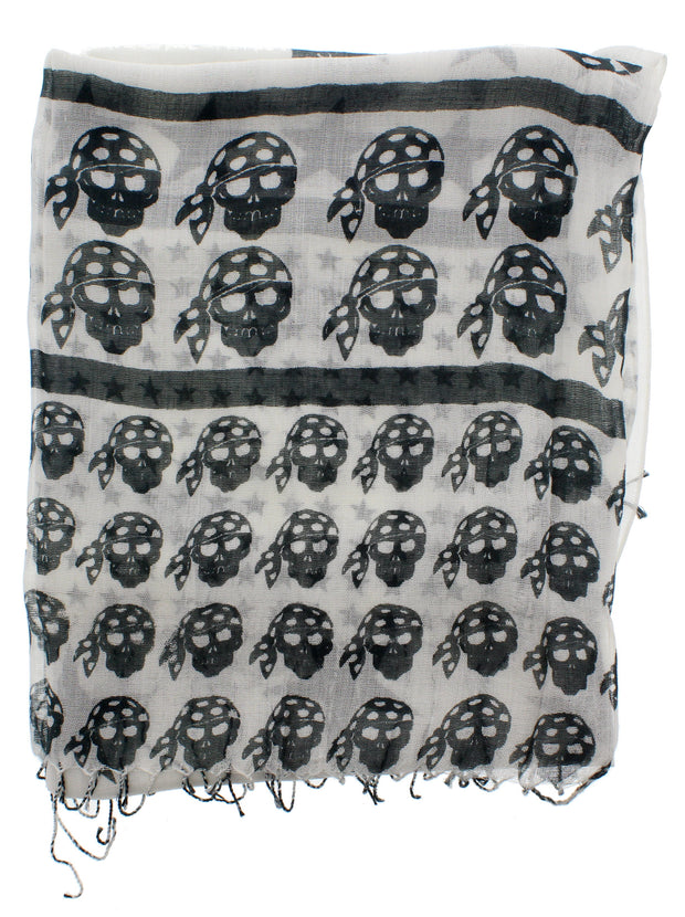 Graduated Black Pirate Skull Print Scarf