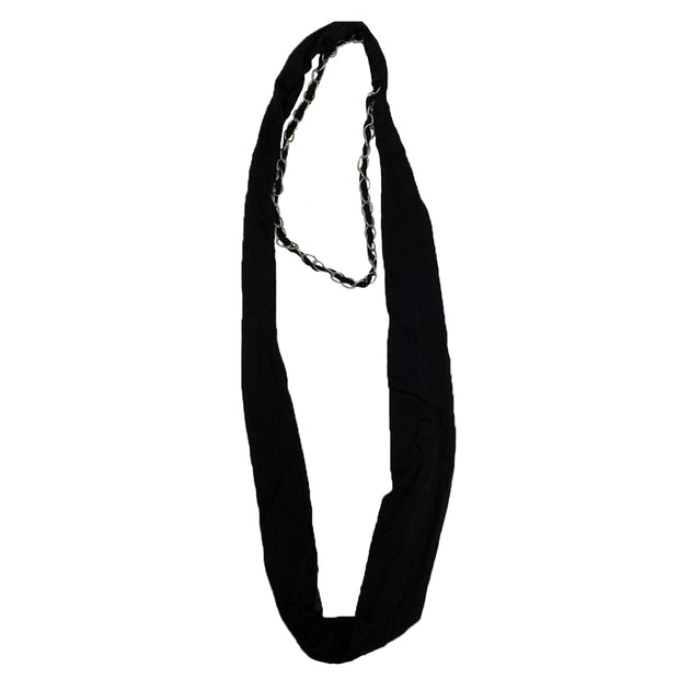 Jersey Cotton Black Snood with Chain