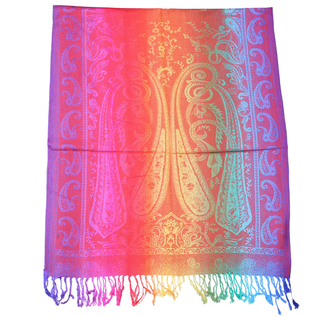 Multicolour Paisley Print Pashmina with Tassels
