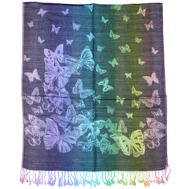 Rainbow Stripe Butterfly Print Pashmina with Tassels