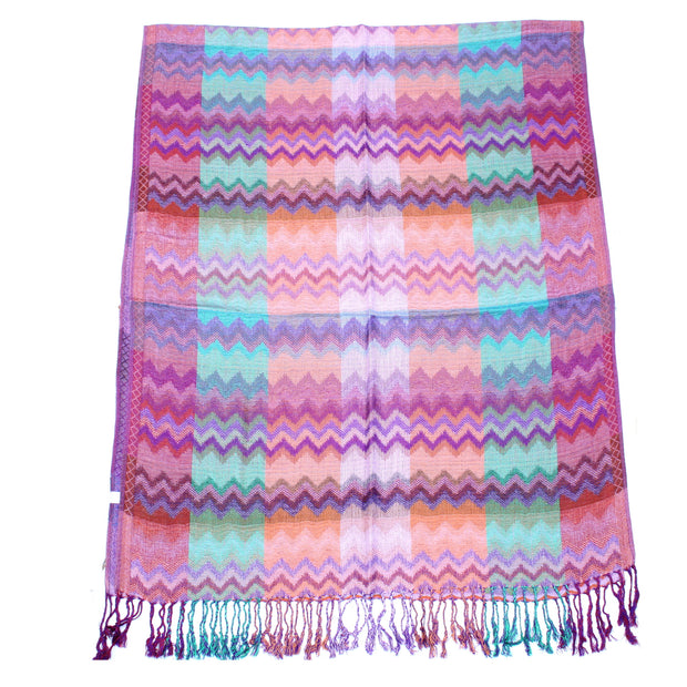 Multicolour Zig Zag Print Pashmina with Tassels