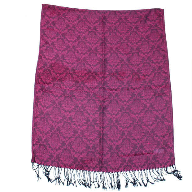 Reversible Fuchsia Pink & Black Patterned Pashmina