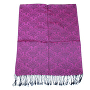 Reversible Patterned Glitter Pashmina with Tassels