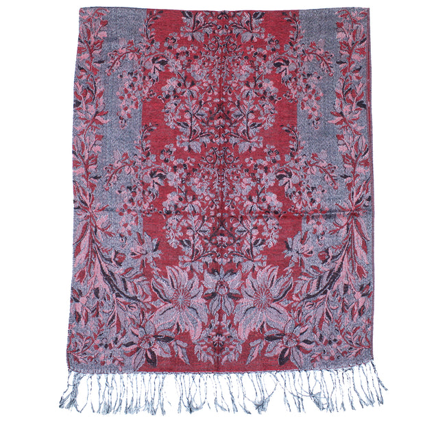 Reversible Flower Print Pashmina with Tassels