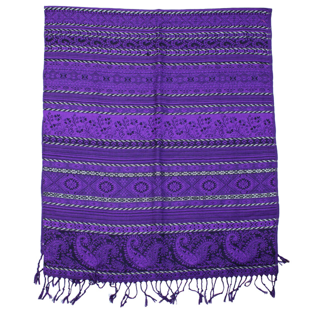 Black & Purple Floral, Striped & Paisley Print Pashmina
