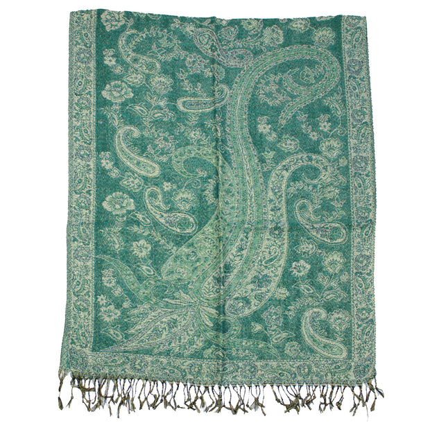 Reversible Paisley Print with Inverted Colours Pashmina with Tassels