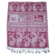 Inverted Red Paisley Print Pashmina with Tassels