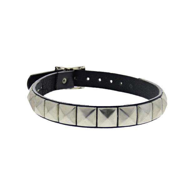 Black 1-Row Pyramid Studded Leather Choker with Buckle