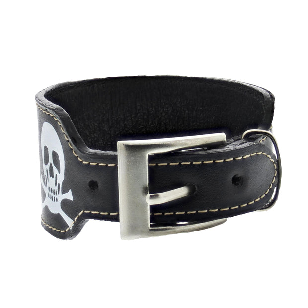 Black PU Buckle Bracelet with Skull & Crossbones