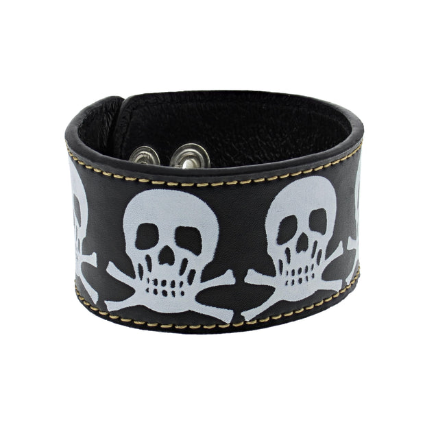 Black PU Bracelet with Skull & Crossbones